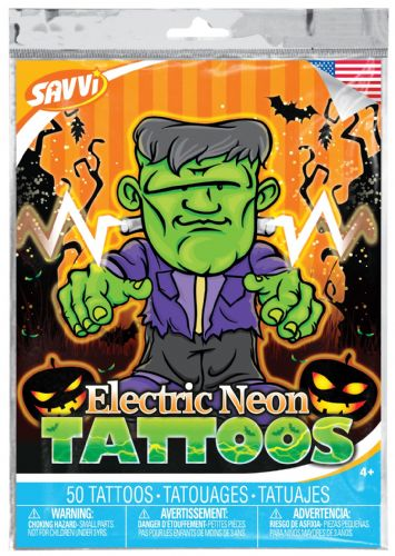 Electric Neon Halloween Temporary Tattoos